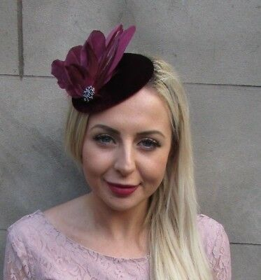 Dark Burgundy Wine Maroon Red Black Feather Velvet Hat Fascinator Hair Vtg 6656