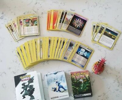 Lot of 196 Pokemon Cards Trainer and Energy mix + binder, boxes, & figurine