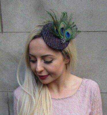 Purple Black Green Peacock Feather Small Pillbox Hat Fascinator Hair Clip 6660