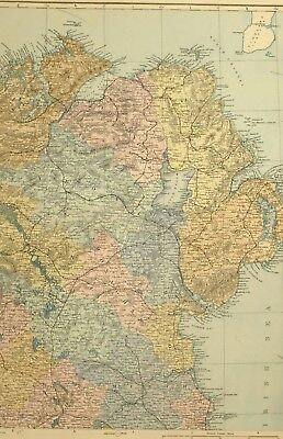 1891 Antique Map Ireland North East Meath Longford Tyrone Londonderry Dundalk
