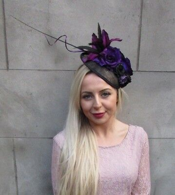 Black Dark Purple Feather Flower Disc Saucer Hat Fascinator Hair Wedding 6667