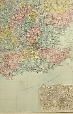 1891 Antique Map South East England Birmingham Sussex London Essex Suffolk