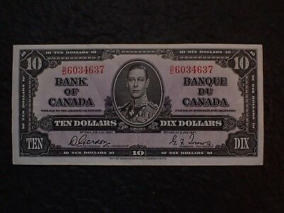 1937 , 10 Dollars, Gordon-Towers,  ,...37,   BC-24b,     Free shipping in Canada