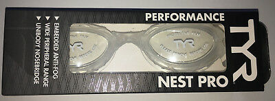 TYR New Box Clear Swim Goggles Anti Fog Double Strap LGNST Performance Nest Pro