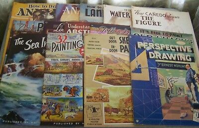 Lot Of 14 Vintage Walter Foster Art Books Figures Anatomy Animals Sea Landscape