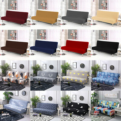 Armless Sofa Bed Cover Stretch Slipcover Settee Folding Couch Futon Protector