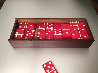 Vintage Red Bakelite Dominoes Dominoes Full Set In Old Hand Carved Box