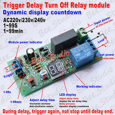 AC 220V 230V Trigger Timer Delay Turn Off Switch Board Time Relay Module W/LED L