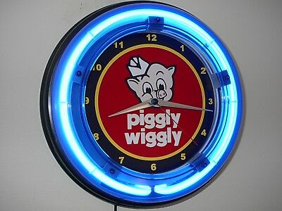 *** Piggly Wiggly Grocery Pig Diner Kitchen Store Blue Neon Wall Clock Sign
