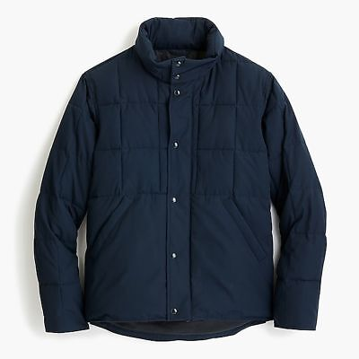 $268 NEW J. Crew Sporting Quilted Jacket Men's Medium Navy Coat M Hunting Nordic