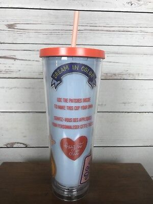 Starbucks 24 oz Venti Create Your Own Patches Cold Cup Tumbler w Straw 2018