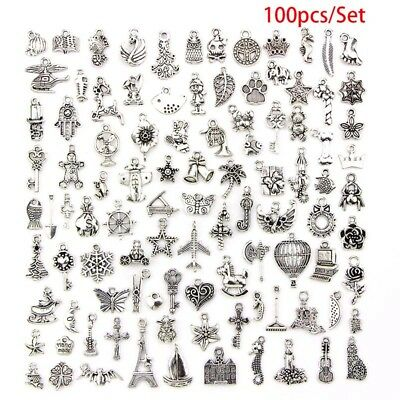 100pcs Bulk Lots Tibetan Silver Mix Pendant Charm Craft Jewelry Finding Making F