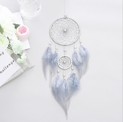 Light Blue Dream Catcher Feather Car Home Wall Hanging Decoration Ornament Gift