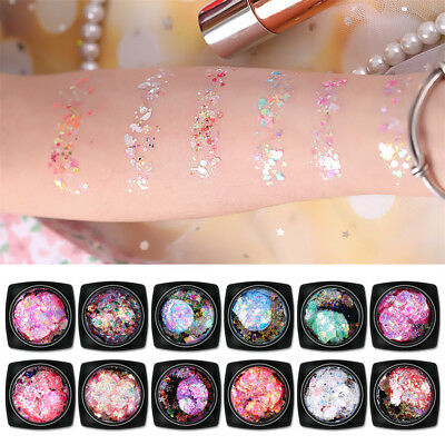 12pcs Chunky Glitter Mixed Flake Body Art Nail Hair Face Eye Shadow Body Makeup2