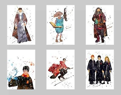 Harry P. Movie Watercolor Wall Art Unframed Poster Prints Set of 6 8x10 N1