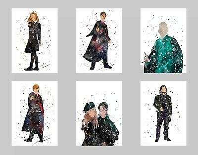 Harry P. Movie Watercolor Wall Art Unframed Poster Prints Set of 6 8x10 N2