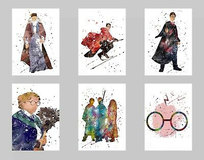 Harry P. Movie Watercolor Wall Art Unframed Poster Prints Set of 6 8x10 N3