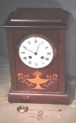 Antique Samuel Marti French Clock Louis XV Inlaid Porcelain Dial EDWARDIAN As Is