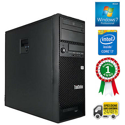 PC COMPUTER DESKTOP FISSO TOWER QUAD CORE i7 8GB SSD 120GB + HDD 500GB WINDOWS 7