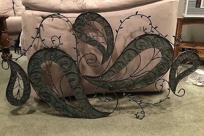 Large Green Decorative Vintage Scroll Wrought Iron Metal Wall Art Plaque UNIQUE
