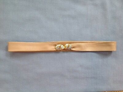 Vintage Leather Evan Picone Adjustable Belt With Gold Shell Clasp