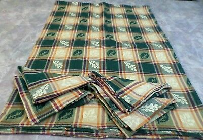 Vintage Tablecloth And Napkin Set Fall Leaves Green Orange Red Cotton NICE