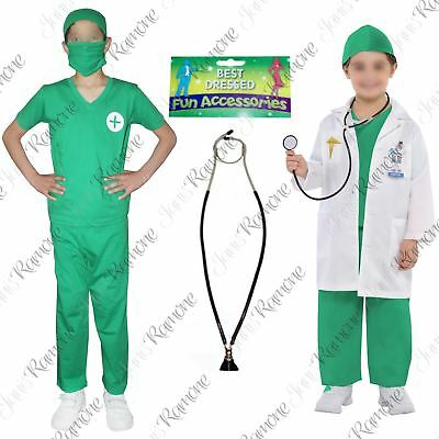 Child Doctor Surgeon Scrubs Boys Girls Fancy Dress Costume Book Week Day Outfit