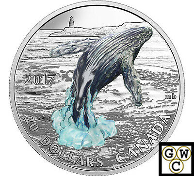 2017'Breaching Whale-3D'Color with 3D Prf $20Silver Coin1oz .9999Fine(NT)(17916)
