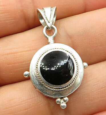 925 Sterling Silver - Vintage Minimalist Round Inlay Onyx Drop Pendant - P4389