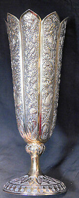 Antique Solid Silver Gilt Chased Repousse Tulip Vase India Raj Birds Flowers OLD
