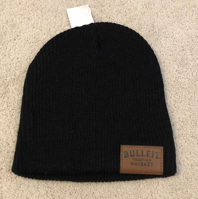 BULLEIT FRONTIER WHISKEY Black Knitted Leather Tag Beanie Skull Hat Cap NEW