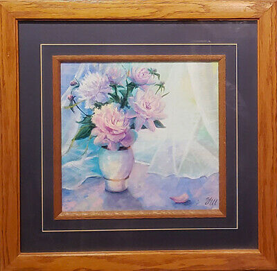 Peony. Original framed Acrylic paints on paper 27x30 cm painting from artist