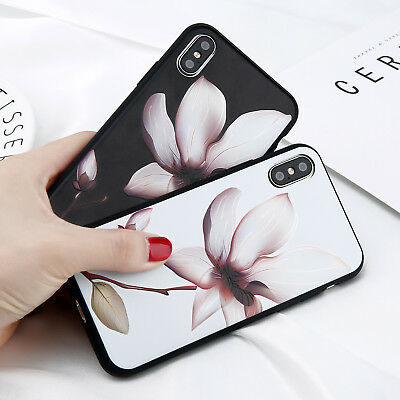 Flower Pattern Soft Silicone Rubber Matte Case Cover for iPhone 5s 6 X XR XS Max