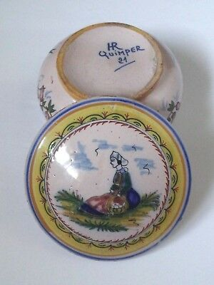 Quimper Box Trinket Faience Antique French Victorian Lady Hand Painted Signed