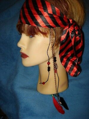 Buccaneer Pirate Headscarf with Charms & Feathers Trim Cosplay Costume Accessory