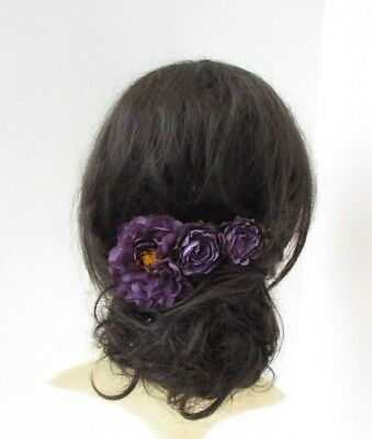 Dark Purple Peony Rose Flower Hair Comb Fascinator Floral Bridal Bridesmaid 6686