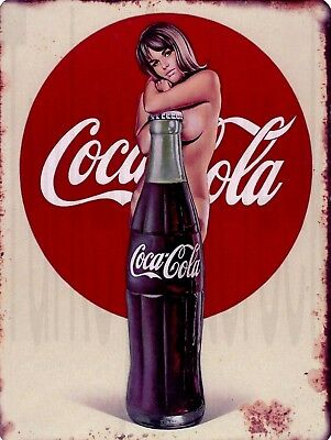 "Coca Cola Bottle Pin-up 9"" x 12"" Sign"