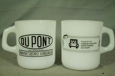 Du Pont Waynesboro Virginia vintage old white milk glass coffee mug cup Dupont