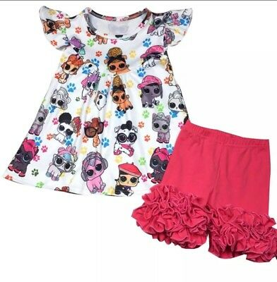 LOL Surprise Girls Top And Shorts Set 4T And 5T- Specify Size When Ordering