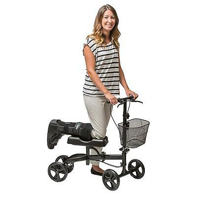 Health Port Steerable Knee Walker Scooter With Dual Brakes