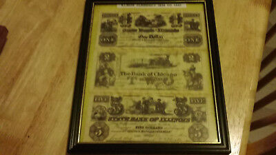 illinois united states currency 1838-1852 copy  in picture frame