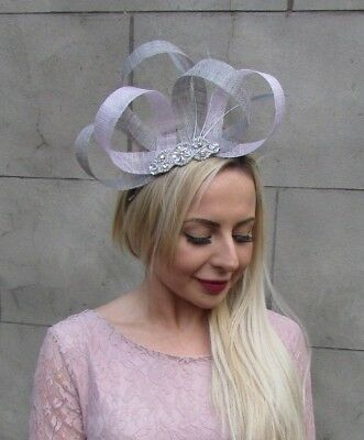 Grey Lilac Light Purple Silver Feather Fascinator Sinamay Hair Band Races 6694