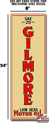 """(Gilm-Lub-3) 24"""" X 8"""" Gilmore Front Small Lubster Decal Oil Tank Gas Gasoline"""