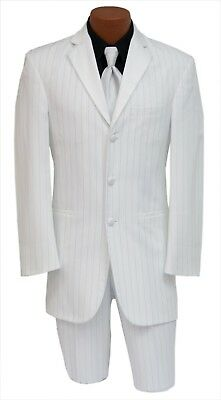 Mens 40R White Pinstripe Zoot Like Suit w 34 Waist Pants Mardi Gras Costume Prom