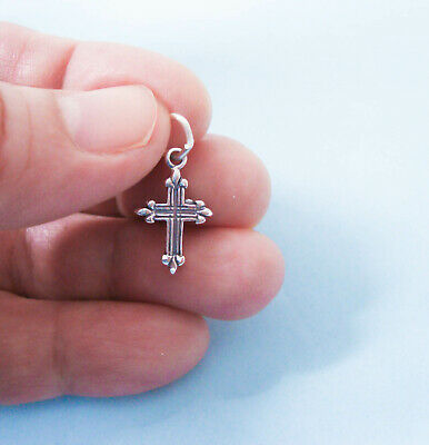 Sterling Silver Small Cross Charmi, Fancy Ornate, Oxidized, 2-sided, Made in USA