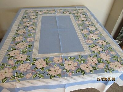 VINTAGE PRINTED TABLECLOTH, BLUE WITH PINK BLOSSOMS, LEAVES, 50x58