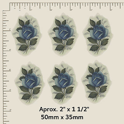 """6 x Waterslide ceramic decals Flowers Blue Roses Approx 2"""" X 1 1/2"""" R39"""