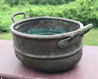 Antique Hand Hammered Copper Dovetailed Small Pot Cast Brass Handles Cauldron