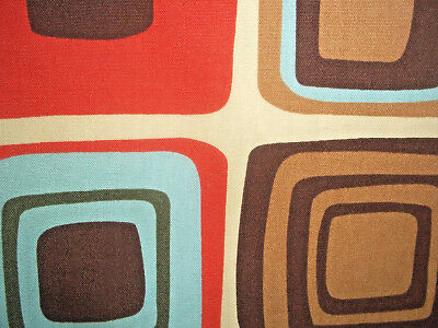 Mid century modern vintage abstract 'cubes' 1960's design fabric drapery panels!