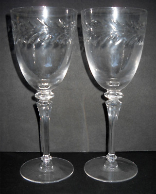 Antique Wine Glass Crystal Glasses Toasting Wedding Champagne Set 2 Etched 1940s